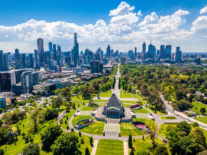 Drone  Shrine Of Remembrance Architecture Building Exterior Built Structure City Cityscape Cloud - Sky Day Drone Photography Growth Modern Nature No People Outdoors Scenics Sky Skyscraper Travel Destinations Tree Urban Skyline An Eye For Travel