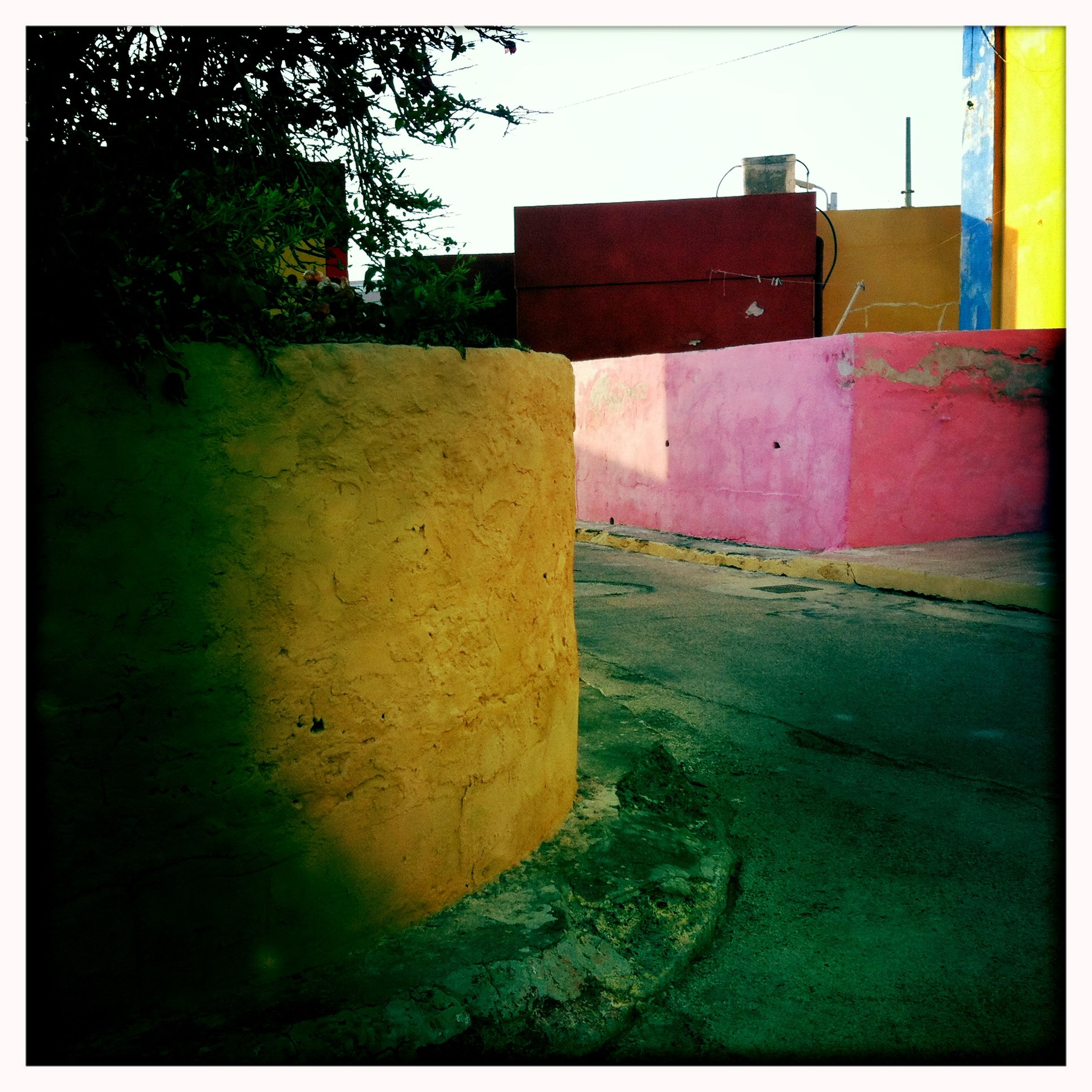 built structure, multi colored, architecture, no people, building exterior, outdoors, day, backgrounds, sky, powder paint