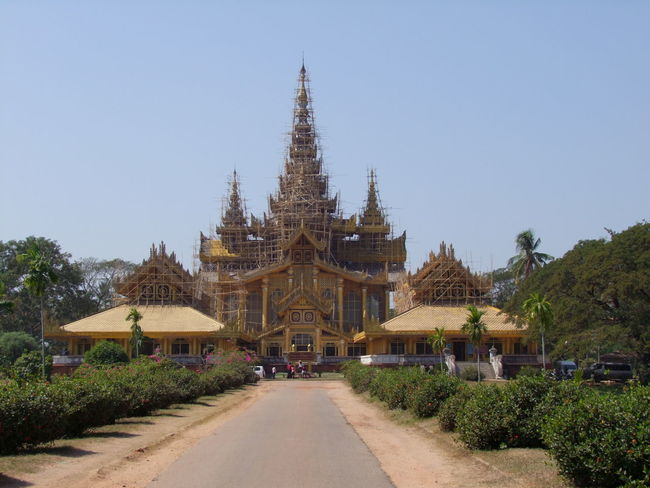 Bee Throne Hall under Renovation, Palace of Kanbawzathadi (built 1553) Bago Blue Sky Buddhist Architecture Buddhist Culture Building Exterior Built Structure Bushes Communication Distant View Famous Place Gold Coloured Myanmar No People Outdoor Photography Palace Royal Palace Royal Pavilion Sunlight And Shadows Throne Hall Tourist Attraction  Tourist Destination Trees Wooden Architecture