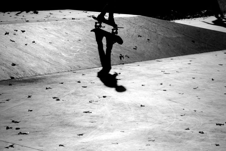 Skater Skateboarding Skateboard Park Black And White Shadow Extreme Sports Silhouette Low Section Sunlight Stunt Skateboard Ramp Skating Focus On Shadow Capture Tomorrow Skate Photography: Same Tricks, New Perspectives