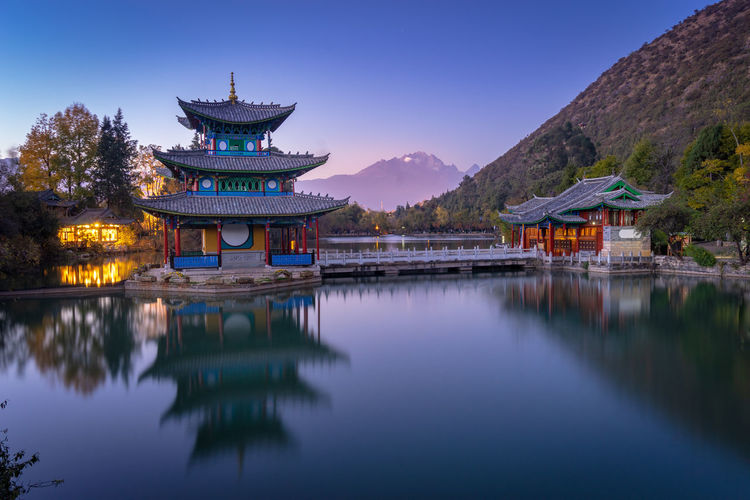 Black Dragon Pool with Jade snow mountain Chinese Culture Chinese Architecture Ancient Civilization Water Place Of Worship Sunset Lake Religion Red History Classical Style Cultures Pavilion Pagoda Shrine EyeEmNewHere EyeEmNewHere Autumn Mood