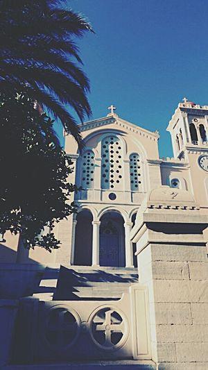 Tinos Greece Colorful Blue Sky Blue White Church