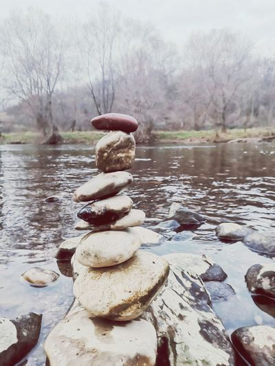 Stack of stones in river