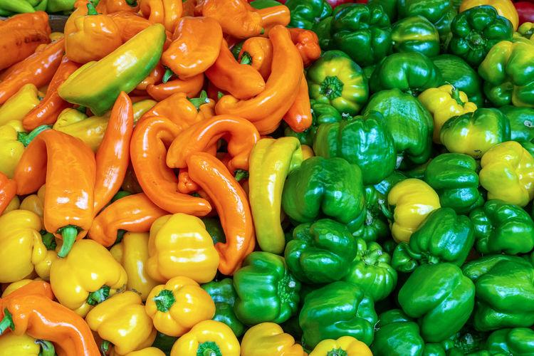 Full frame shot of bell peppers for sale in market