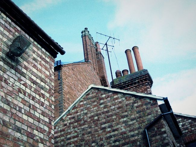 Some great angles and chimney tops 💟😃💟 Urbanexplorer Old Town Layers And Colors Learn & Shoot: Layering Urban Geometry Urban_collection From My Point Of View Looking Up Chimneys Brick Wall Bricks Lines And Shapes Triangles Triangles Are My Favorite Shape 😄😊😃 Rustic Urbanphotography Learn & Shoot: Leading Lines The Week Of Eyeem Lindsay's Little Manchester