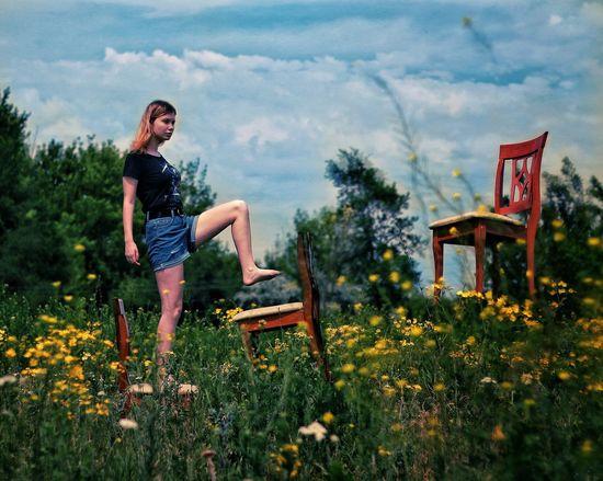 Dubleexposure EyeEm Selects Eyeemphotography Parklife Kharkiv Sunnyday Levitation Levitating Levitation Photography Flower Tree Spraying Full Length Young Women Water Sky Grass Plant