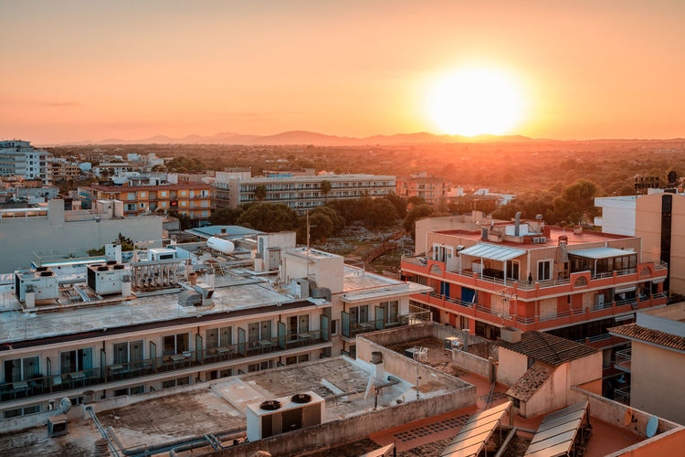 Golden hour atmosphere in Sa Coma/S'Illot, Mallorca, Spain Architecture Sky Sunset Nature No People Outdoors Water Beach Seaside Seaside Town Coastal Region Golden Hour Golden Hour Light S'illot Sa Coma Mallorca View Over Bay View Over Rooftops