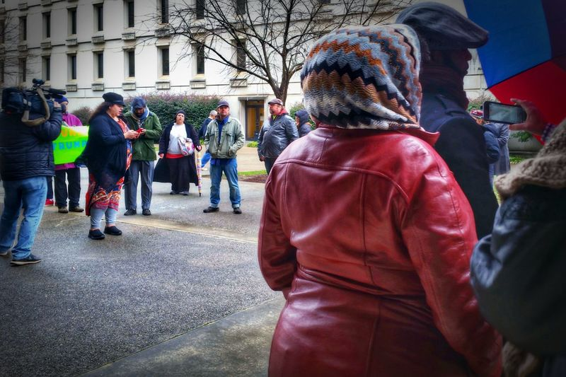Anti-Trump Rally at the State House 12/19/16 (in HDR, 11/14) -- see the non-hdr version here: @simplepoetography. Hdr_Collection Hdr Edit Protest Protesters Protesting Rally People Real People Large Group Of People Camera Camera Work Women Men City Architecture Outdoors Photojournalism Gloomy Weather Urban City December Gloomy Day Teamwork Togetherness