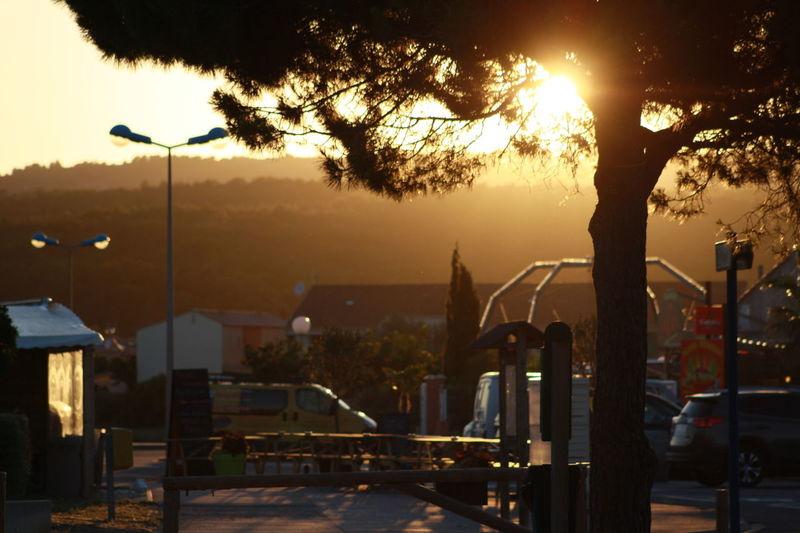 Urban scene at sunset