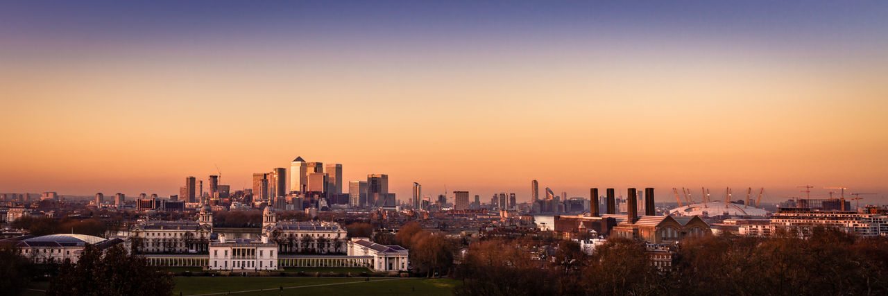 "London from the Prime Meridian. Also titled ""Times I Wish I'd Brought a Tripod, Number 432"". Taken near the Prime Meridian at the Royal Observatory, Greenwich. Architecture City Cityscape London No People Outdoors Panorama Panoramic Panoramic Landscape Panoramic Photography Sky Skyscraper Sunset Urban Skyline"