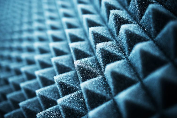 Acoustic Foam Closeup. Audio Recording Studio Essential For the Acoustic Treatment. Acoustic Foam Audio Studio Abstract Backgrounds Blue Close-up Clothing Creativity Dark Design Full Frame In A Row Indoors  Jeans No People Pattern Repetition Selective Focus Shape Silver Colored Still Life Studio Shot Textile Textured  Textured Effect