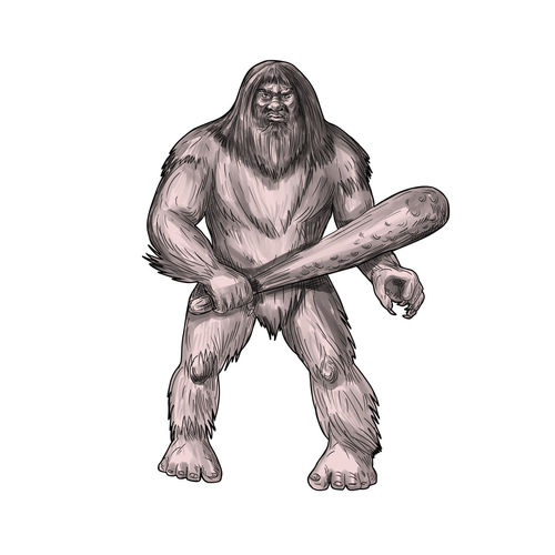 Tattoo style illustration of a Bigfoot or Sasquatch, a simian-like creature of American folklore that inhabit forests, usually described as a large, hairy, bipedal humanoid standing holding club viewed from front set on isolated white background. American Folklore Bigfoot Bipedal Club Creature Forest Hairy  Humanoid Sasquatch Simian Like Tattoo White Background