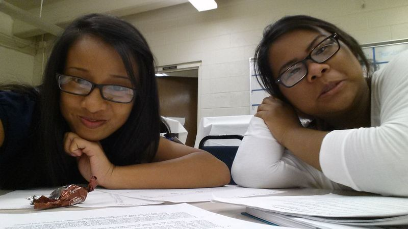 """""""Stop smiling! We do not have fun in this class."""" -naks """"Studying"""" Getting Competitive Sonotready"""