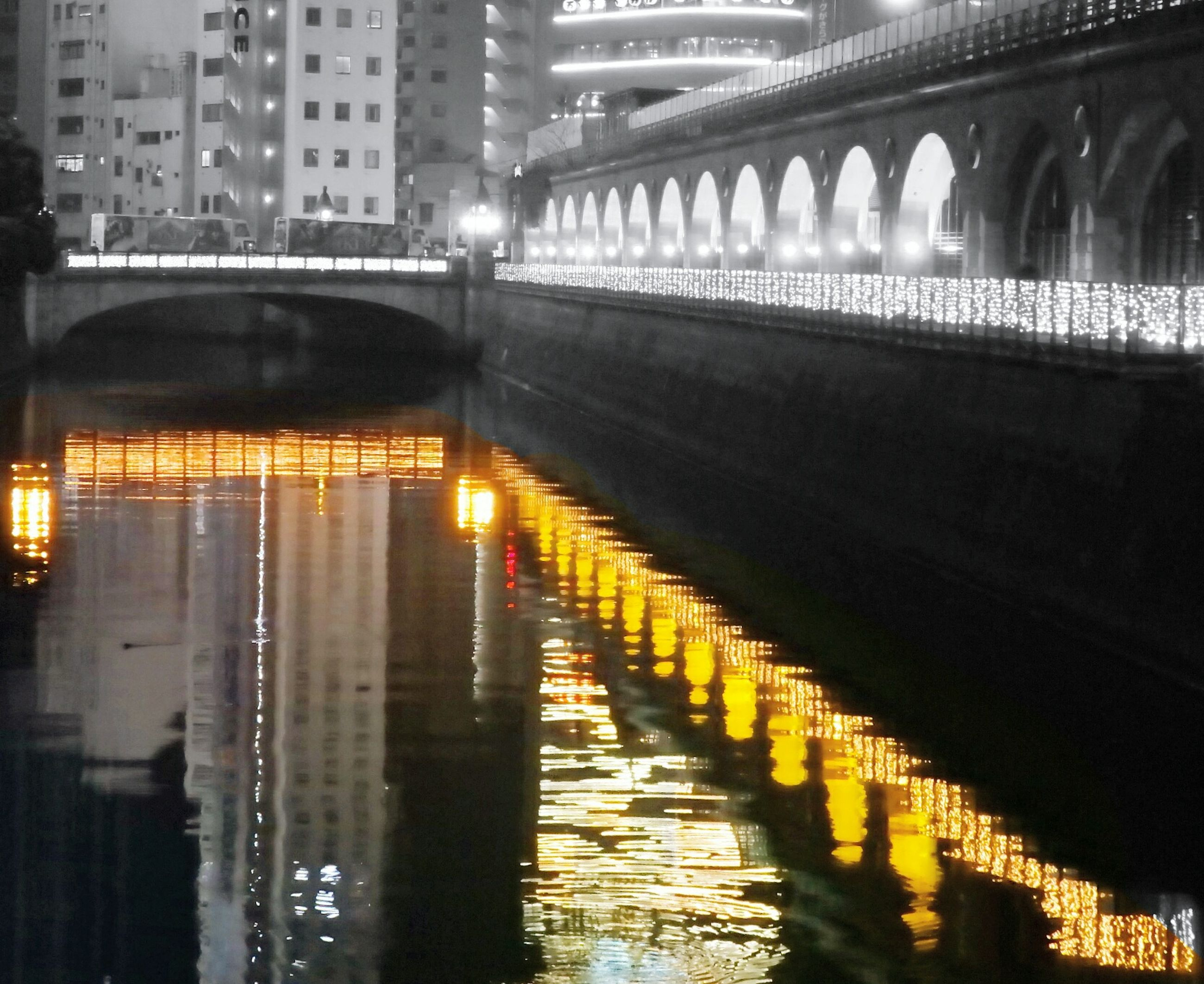 built structure, architecture, illuminated, water, indoors, no people, night