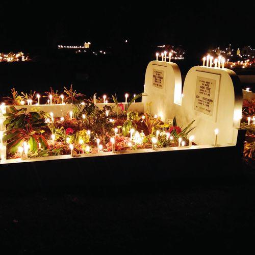 All Souls All Souls Day All Souls Procesion All Souls Cemetery Candles Light And Shadow Cemetery Tomb Tombstone Flowers Night Lights Nightphotography
