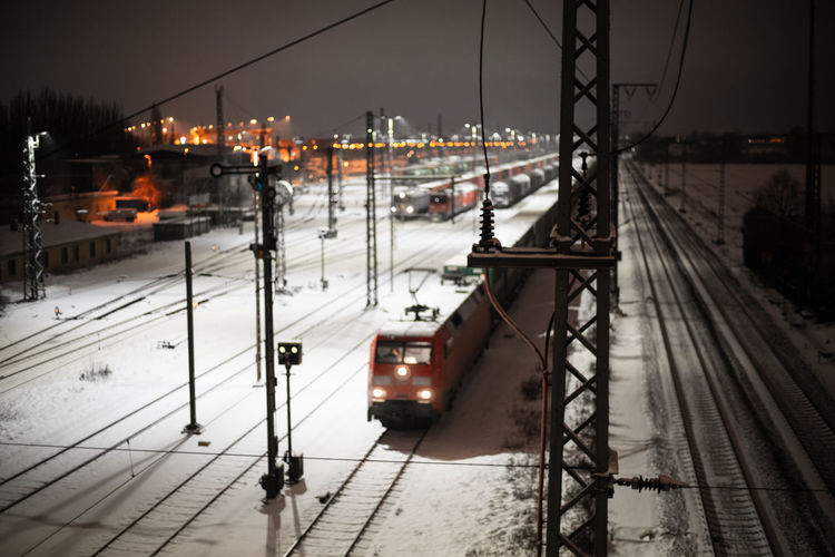 View of railroad tracks in winter
