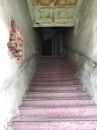 Law offices upstairs and down the hall- 1950's. Old Steps Old Staircase Old Stairways No People The Way Forward Low Angle View Old Buildings Old Town Small Town 1950s Beauty In Age Beauty Of Decay History Brick Pressed Ceiling