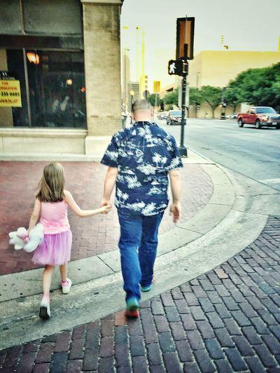 City Full Length Togetherness Childhood Girls Child Rear View Bonding Sidewalk Road Pedestrian Street Scene