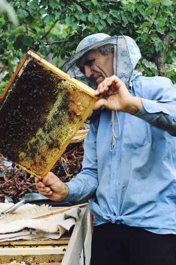 Senior man holding beehive against trees