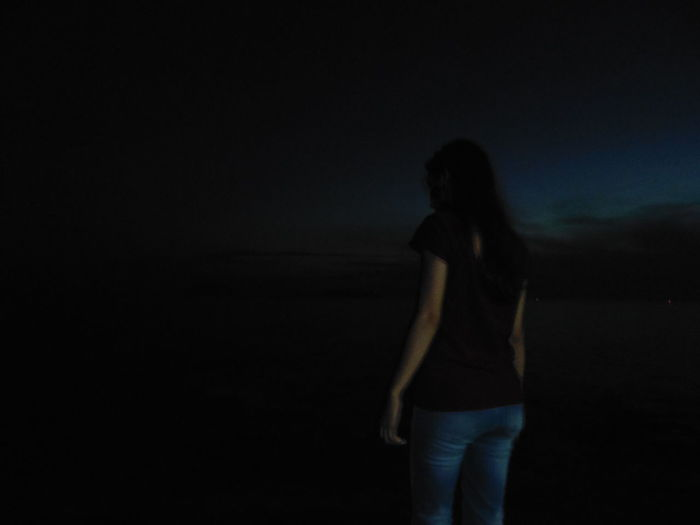 Beach Dark Night One Person People Real People Standing Three Quarter Length