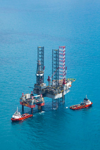 High angle view of offshore platform over sea