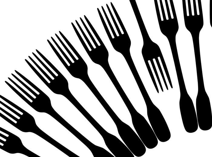 B Forks on white Against The Trend Food And Drink For Fork Fork Art Fork Design Fork Silhouette Forks Kitchen Art Kitchen Utensils No People Opposite Opposite Directions Other Way Silhouette Studio Shot White Background Graphic Design Graphic Fork
