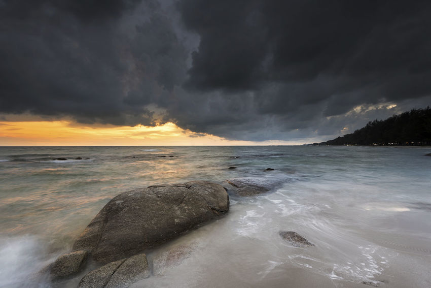 wave and strom over the sea Beach Beauty In Nature Cloud - Sky Horizon Horizon Over Water Land Motion Nature No People Outdoors Power Power In Nature Scenics - Nature Sea Sky Storm Storm Cloud Sunset Water Wave
