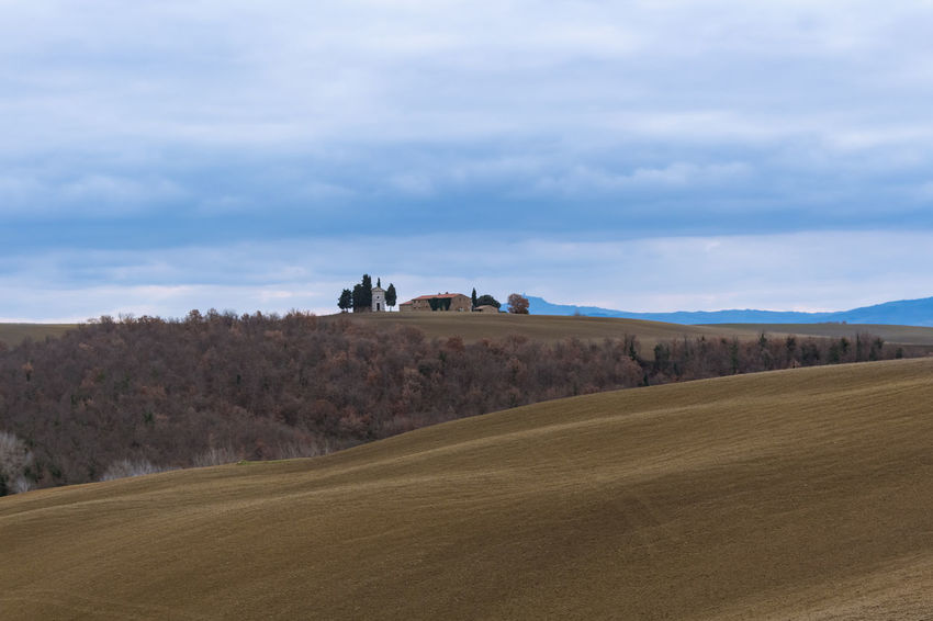 Field Tuscany Winter Beauty In Nature Cloud - Sky Countryside Day Italy Landscape Meadow Nature No People Outdoors Rural Landscape Rural Scene Scenics Siena Sky Tranquility