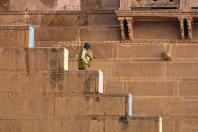 Ghats or riverfront steps. Varanasi Uttar Pradesh has 88. January 20, 2017. Architecture Real People Built Structure One Person Steps And Staircases People Street Photography Streetphotography People Photography EyeEm Best Shots - People + Portrait Travel Photography Indian Cultures Incredible India Documentary Travel India Storytelling Check This Out Varanasi