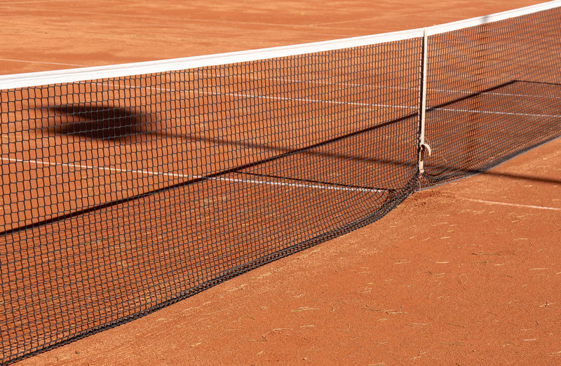 Close-up of net hanging on playing field