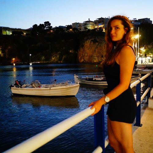 First Eyeem Photo EyeEm Best Shots Eye4photography  Summer Sonnenuntergang Silhouette Licht Und Schatten Greece Contrast Crete Ocean Boat Ship Travel Tranquility Girl Woman Portrait Woman Vacation Water One Person Nautical Vessel Adult Nature Women Young Adult Standing Clothing Outdoors Dusk
