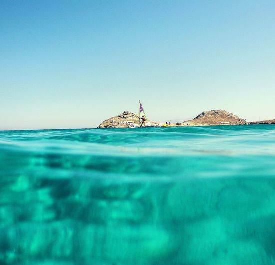 Blue Sea Water Sky Clear Sky Nature Wave Windsurfing Wind Day Mykonos