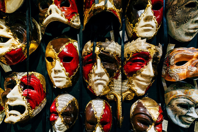 Full frame shot of mask for sale in store