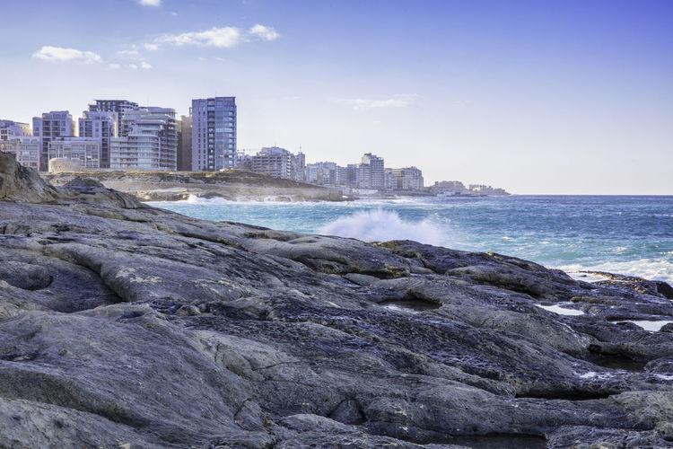 sliema Sliema Malta Sea Sky Water Rock Land Scenics - Nature Travel Travel Destinations Island Mediterranean  Mediterranean Sea City Beach Oroszphotography EyeEm Best Shots EyeEmNewHere EyeEm Selects WeekOnEyeEm