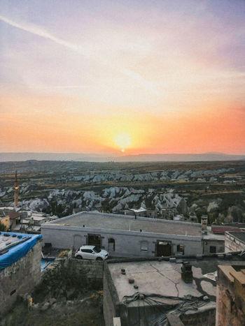 Sunset City Cityscape Sky Architecture Built Structure Orange Color