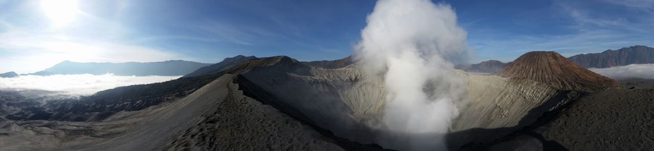 Panoramic view of mt bromo against blue sky