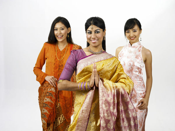 malaysia young woman in traditional costumes Friends Indian Traditional Clothing Baju Kebaya Bubby Cheongsam Chinese Friendship Group Of People Happiness Harmony Malay Ethnicity Malaysian Merdeka Mixed Race Multi Racial Portrait Racial Sari Smiling Together Togetherness United White Background Women