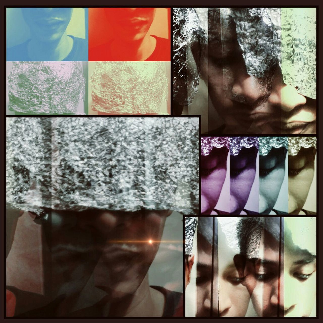 collage, multi colored, variation, multiple image, indoors, one person, close-up, real people, bathroom, day