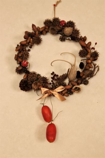 Christmas Christmas Wreath It Was Made With The Nuts Picked Up. Japan Nuts