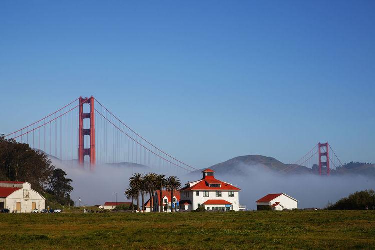 Golden gate bridge against clear blue sky