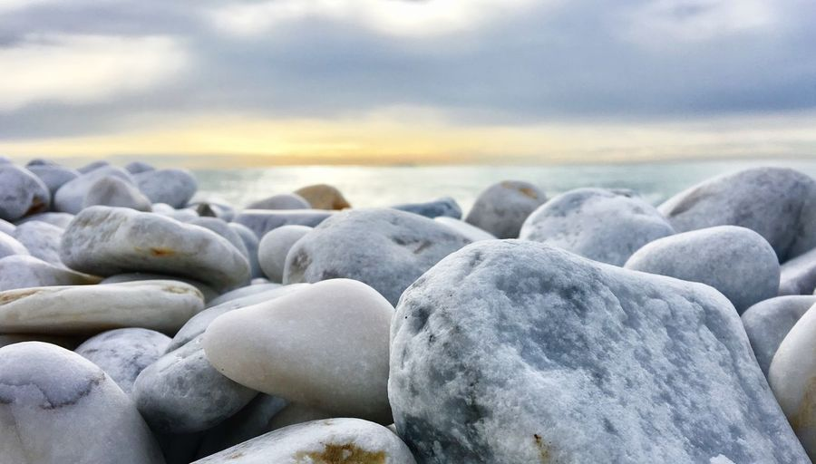 Sea Relax Stone Gravel Seashore Landscape Sunset No People Beach Nature Shore Outdoors Sky Tranquility Cloud - Sky Water Close-up Travel Ocean