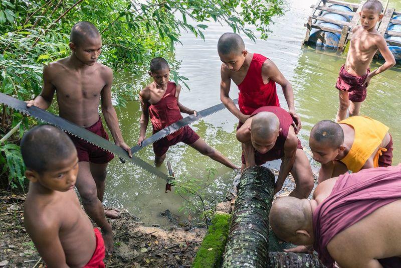 Novice Monks Sawing Wood Myanmar Streetphotography