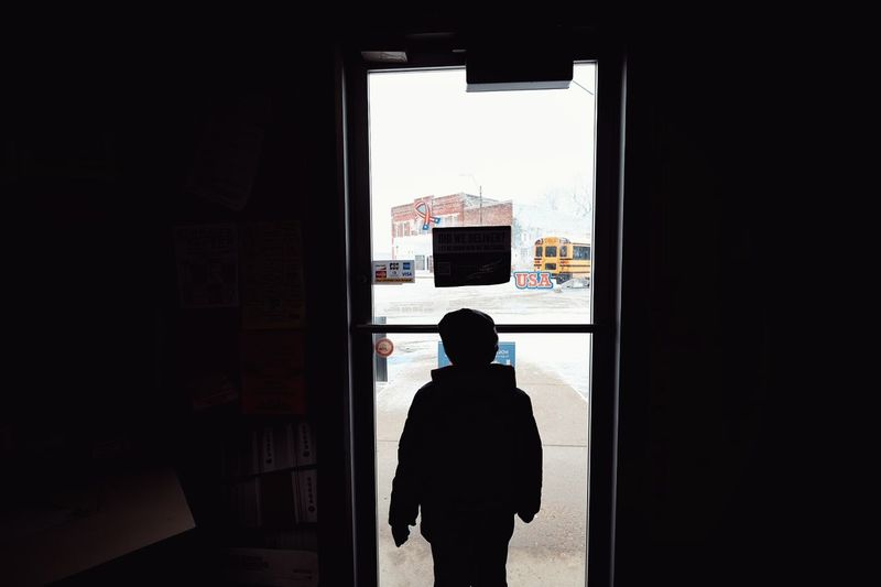 Snow Day - Western, Nebraska November 29, 2015 A Day In The Life Childhood Color Photography Fujifilm_xseries Helios 44-2 Indoors  Light Making Pictures Real People School Bus Showcase: November Silhouette Small Town USA Small Town, USA Snowday Standing Webupload Winter