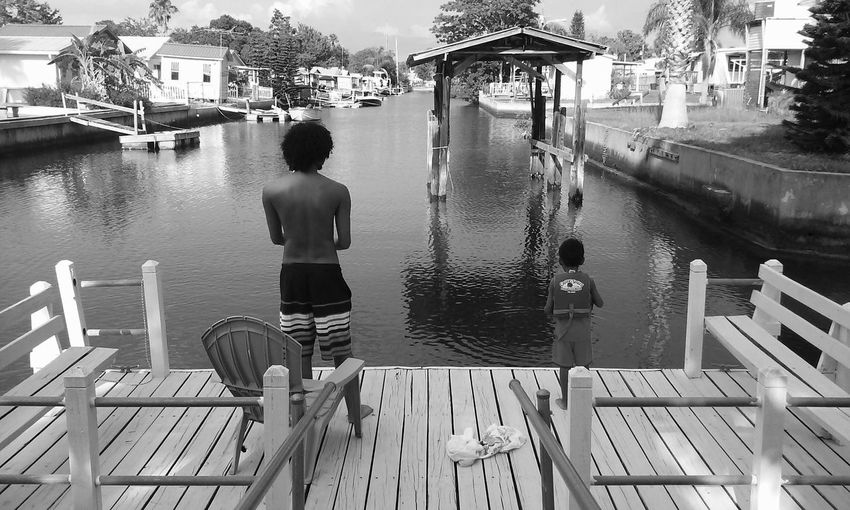 Sons Fishing Two Is Better Than One TwoIsBetterThanOne Canal Relaxing Black And White Black & White Monochrome Photography Water My Year My View The Great Outdoors - 2017 EyeEm Awards The Portraitist - 2017 EyeEm Awards Live For The Story Black And White Friday This Is Family