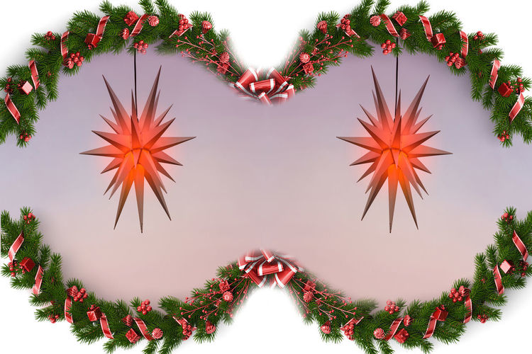 Christmas tree branches with red berries decoration and poinsettia in the middle Plant Red Nature Close-up Beauty In Nature Growth Flower Flowering Plant Tree Orange Color Heart Shape Creativity No People Digital Composite Love Shape Design Decoration Freshness Sky Outdoors Floral Pattern