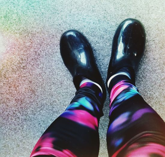 Gum Boots Low Section Human Leg Standing Shoe High Angle View Personal Perspective Directly Above Close-up Colorful