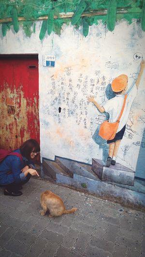 與貓 WithCat Cat Girl Painting Wall Wall Art 彩繪村