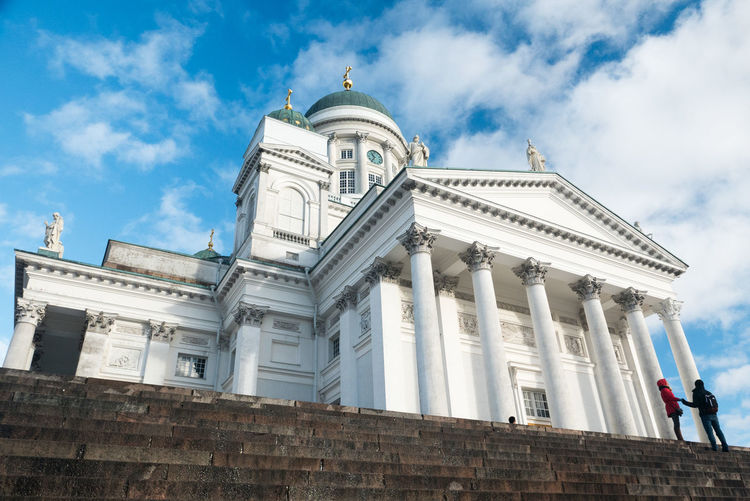 Low Angle View Of Helsinki Cathedral Against Cloudy Sky