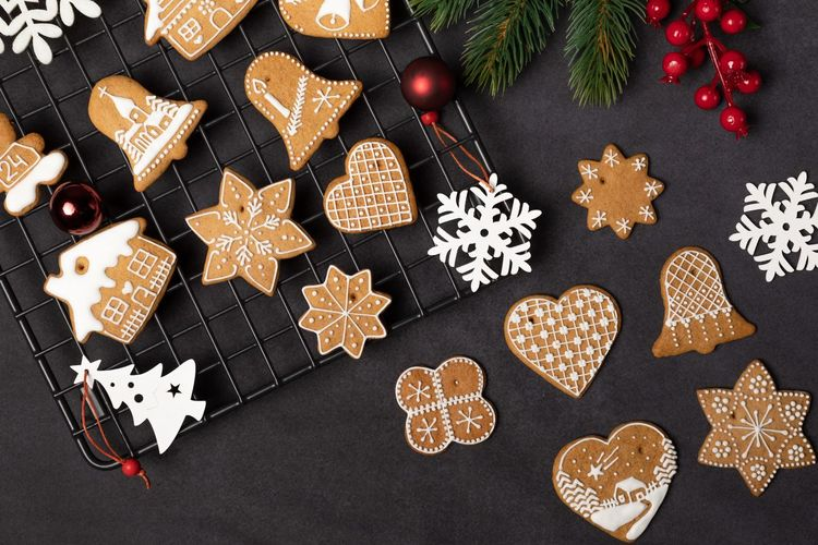 Christmas Celebration Decoration Holiday Shape Star Shape Food Sweet Food Winter Heart Shape Christmas Decoration Food And Drink Still Life Cookie Design Variation Baked Pattern Indoors  No People
