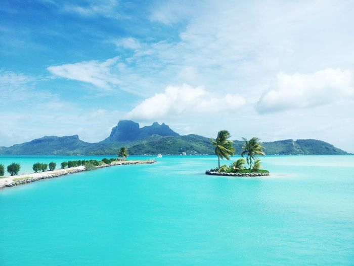 Scenic view of tropical island